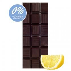 Chocolate Artesano Ecológico Sin Azúcar Negro 74% Cacao con Limón LA VIRGITANA