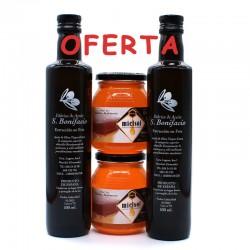 "Aceite Oliva Virgen Extra SAN BONIFACIO + Miel Artesana MIELSOL (Pack Surtido ""Miniking 1"")"