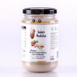 Crema de Cacao Blanco con Avellanas Chocolate Artesano Ecológico SABOR ANDALUZ (380 gr.)