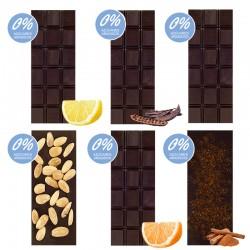 "Chocolate Artesano Ecológico Negro Sin Azúcar SABOR ANDALUZ (Pack Surtido ""SIN AZÚCAR"" 6 ud.)"
