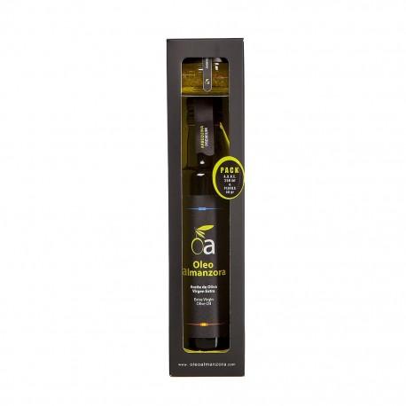 Pack Estuche 250 ml. + Perlas AOVE 40 gr. Aceite de Oliva Virgen Extra Arbequina Premium ÓLEO ALMANZORA